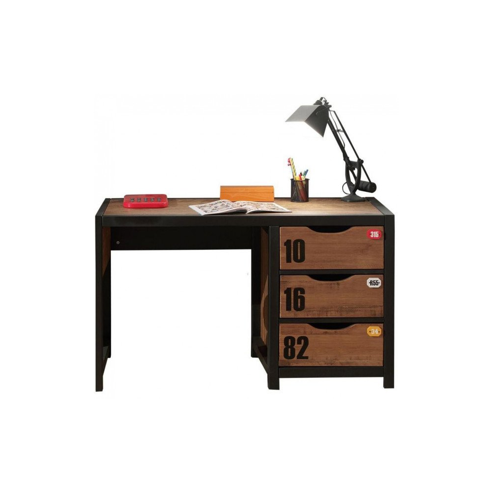 bureau enfant alexy brun et noir 130 cm meubles thiry. Black Bedroom Furniture Sets. Home Design Ideas