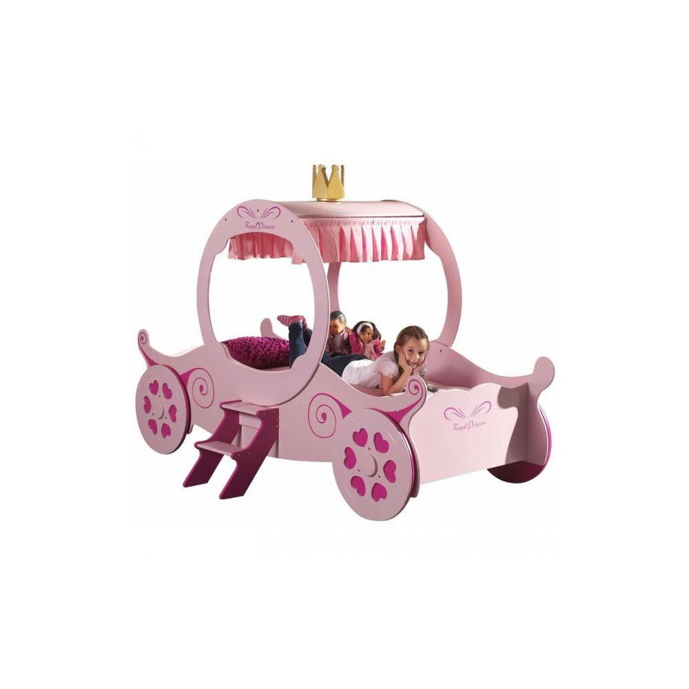 Lit carrosse de princesse Funny 90x200 cm rose - Meubles Thiry
