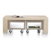 Table basse + trolleys BUCKLEY 120 x 70 cm acacia massif H&H