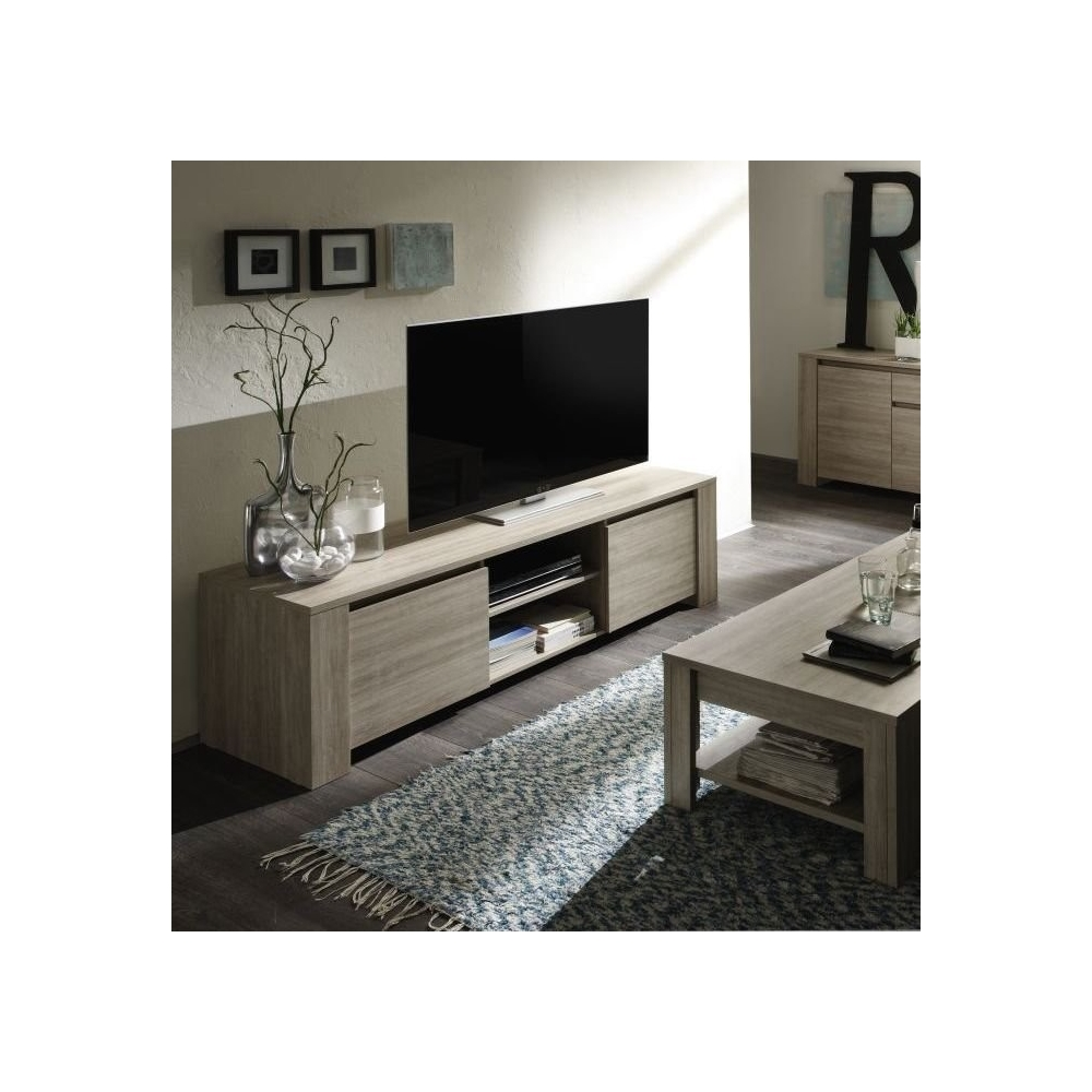 Meuble tv hifi video 180 cm contemporain elsa - Meuble tv 180 cm ...