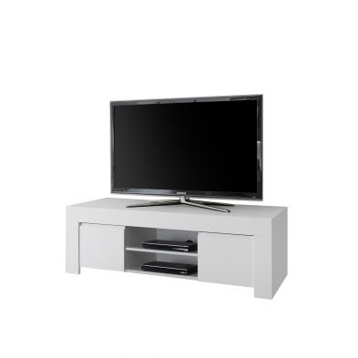 Meuble TV 2 portes 2 niches VINCENZO BLANC 138 cm