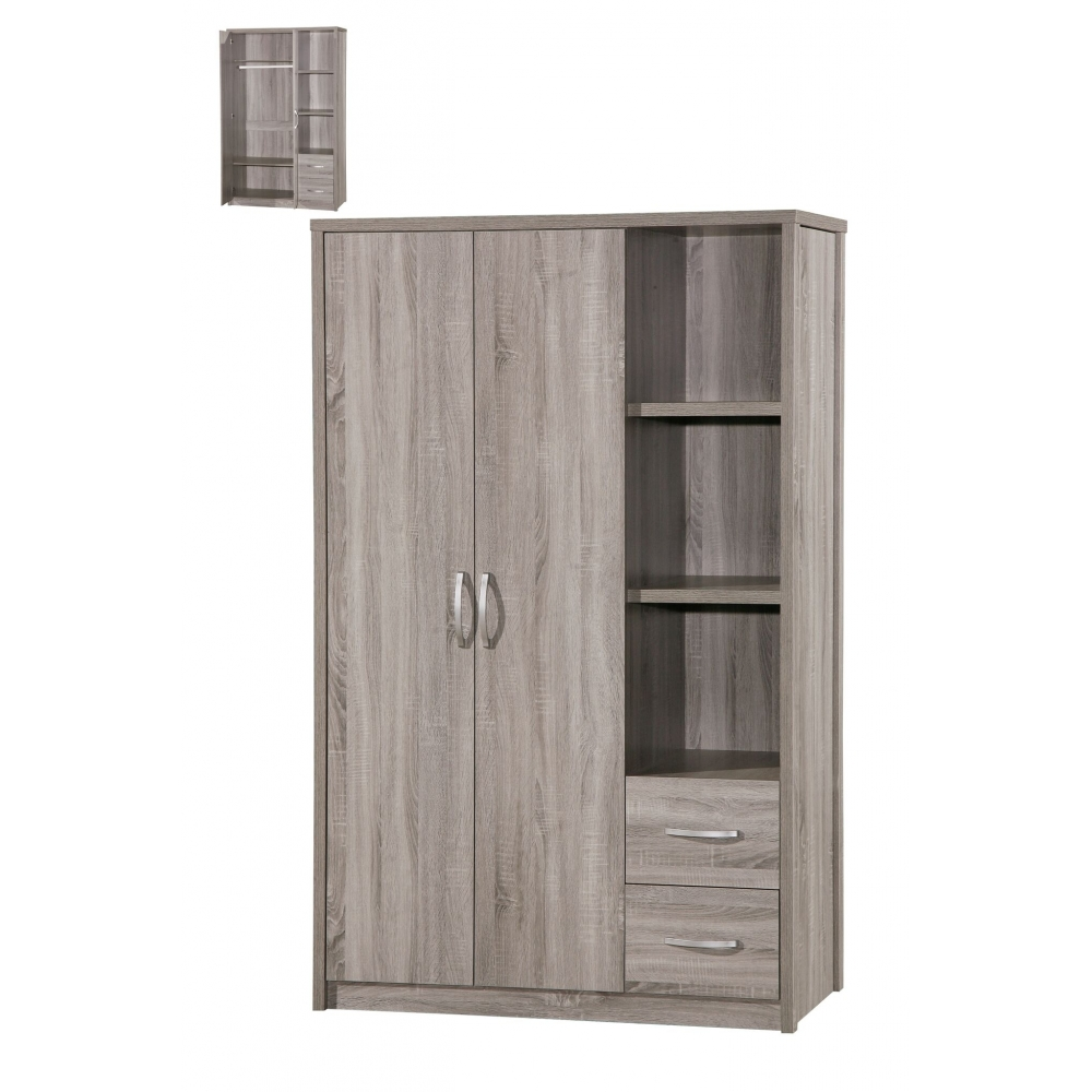 armoire 2 portes 120 cm elisa. Black Bedroom Furniture Sets. Home Design Ideas