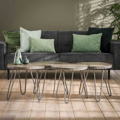 Set de 4 tables basses PORTLAND en manguier massif