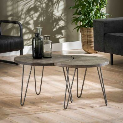 Set de 2 tables basses PORTLAND en manguier massif