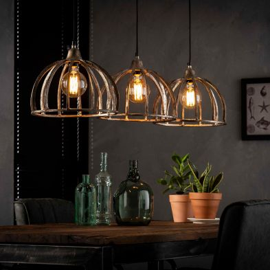 Suspension Enola de style industriel avec 3 ampoules incluses