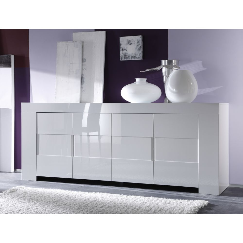 buffet bahut design laila h84 cm buffet blanc laque 4 portes pas cher. Black Bedroom Furniture Sets. Home Design Ideas